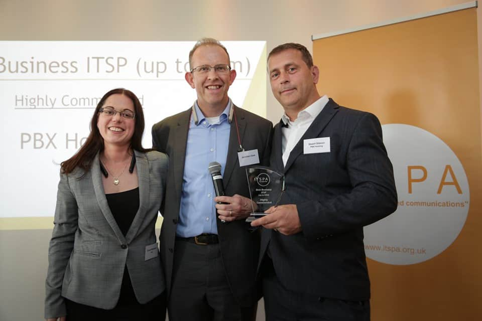 The PBX Hosting team celebrate winning Best Business ITSP at the ITSPA Awards